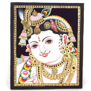 22ct Gold Handmade Lord Krishna Baby Face Tanjore Painting