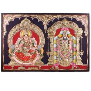22ct Gold Handmade Lord Balaji With Lakshmi Tanjore Painting