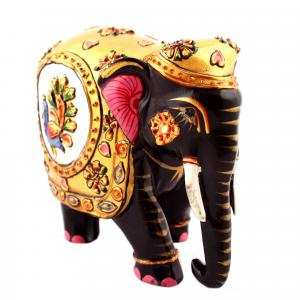 WOODEN PAINTED ELEPHANT FINE