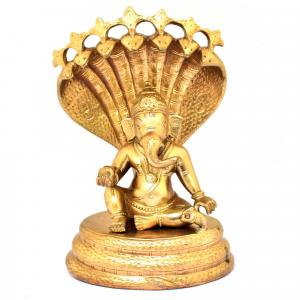 BRONZE LADDU GANESHA WITH SNAKE