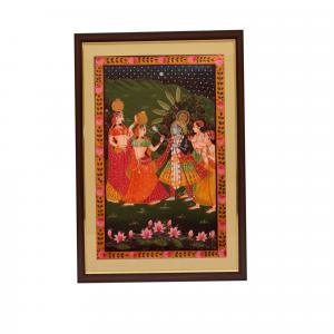 CANVAS PAINTING KRISHNA STANDING WITH GOPIKA