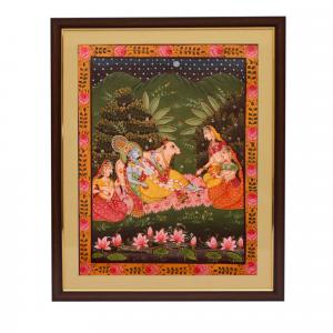 CANVAS PAINTING KRISHNA LYING ON BED