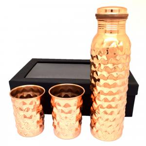 COPPER BOTTLE WITH GLASS(1 BOTTLE AND 2 GLASS SET)