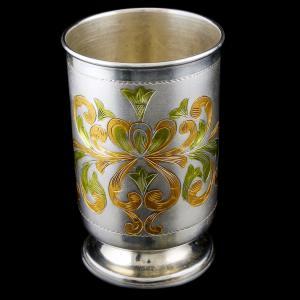 Enamel Floral Silver Tumbler