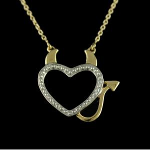 P7854 sterling Silver Gold Plated Heart Shape Pendant With Chain