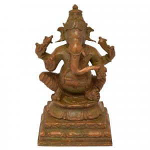 PANCHALOHA GANESHA SITTING ON BASE