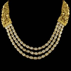 Silver Gold Plated peacock Design Necklace Studded Zircon Stones