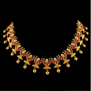 Gold Plated Moon Design Necklace Studded Pearl And Red Onyx Stones