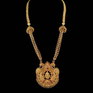 Gold Plated Peacock Design Long Necklace Studded Red Onyx Stones