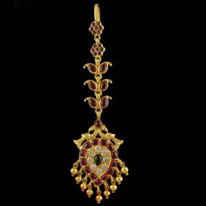 Silver Gold Plated tikka Studded Red Onyx Stones