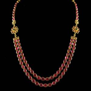 Gold Plated Red Onyx Stones Necklace