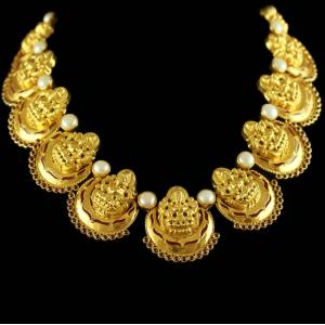 Silver Gold Plated Chandbali Necklace Red Onyx And Pearls Beads