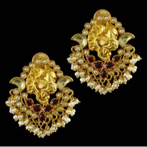 Silver Gold Plated Chandbali Earrings Red Onyx And Pearls Beads