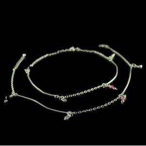 Antique Design Chain with Floral Anklets Studded Semiprecious Stones