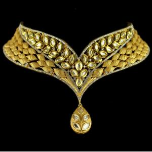 Silver Gold Plated Antique Leaf Design Necklace Kundan And Zircon Stones