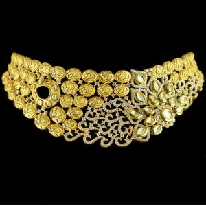 Silver Gold Plated Antique Leaf Design Necklace Kundan And Zirco