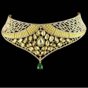 Silver Gold Plated Antique Leaf Design Necklace Kundan And Green Onyx Studded Zircon Stones