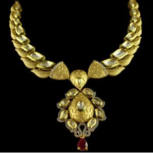 Silver Gold Plated Kundan Antique Necklace Zircon Stones With Re