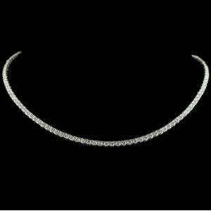 Fancy 92.5 Sterling Silver Necklace Studded Zircon Stones