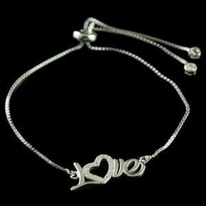 Fancy 92.5 Silver Letter Bracelet Studded White Zircon Stones