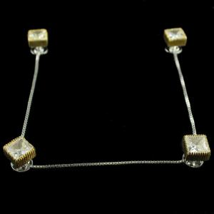 Silver And Gold Plated Cufflinks Studded Zircon Stones