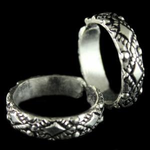 Silver Antique Design Oxidised Toe Rings