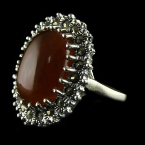 92.5 Sterling Silver oxsided Fancy Design Rings Studded Crystal And Orange Onyx Stones
