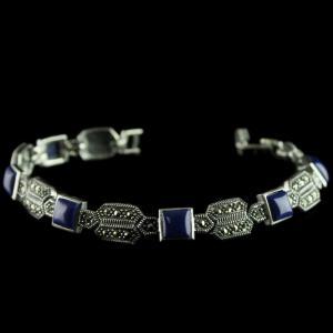92.5 Sterling Silver oxsided Fancy Design Bracelet Studded Crystal And Lapis Lezuli Stones