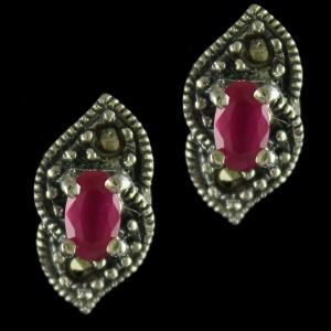 92.5 Sterling Silver Fancy Design Casual Earrings Studded Crystal And Ruby Stones