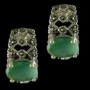 92.5 Sterling Silver Oxidized Casual Earrings Studded Emerald Stones