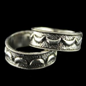 92.5 Silver Fancy Design Oxidized Teo Ring