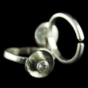 92.5 Silver Fancy Design Oxidized Teo Ring Studded Zircon Stones