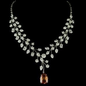 92.5 Sterling Silver Swarovski zircon Necklace