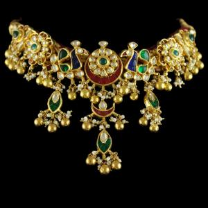 92.5 Silver Gold Plated Peacock Design Necklace Studded Kundan Stones