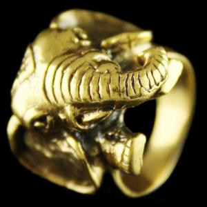 Silver Gold Plated Elephant Design Finger Rings