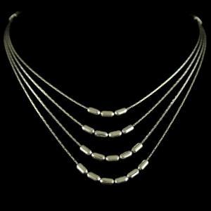 oxidized Silver 3 Line Necklace