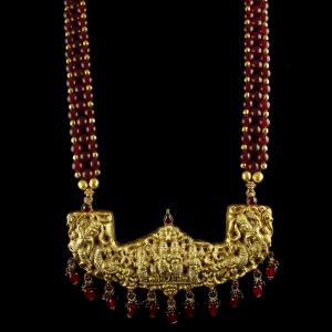 SILVER Gold Plated Lakshmi Necklace Semi Precious Stones