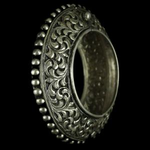 Silver Oxidized Fancy Kada Bangle