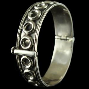 Silver Oxidized Antique Design Kada And Screw Bangle