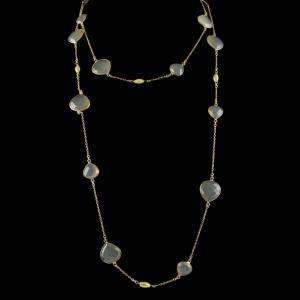 Gold Plated Chain Studded Semi Precious Stones