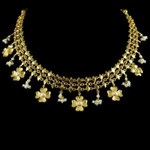 Silver Gold Plated Floral Design Necklace With Pearls