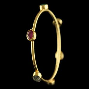 GOLD PLATED MULTI COLOR ONYX BANGLE (1 PCS)