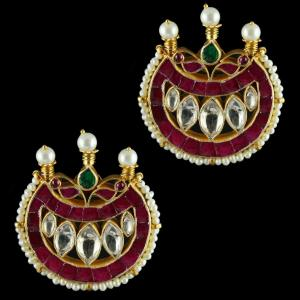 Silver Gold Plated Fancy Design Casual Earrings Studded Kundan And Pearls Stones