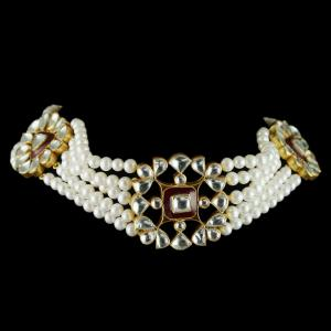 Silver Gold Plated Fancy Design Necklace Studded Kundhan And Pearls Stones