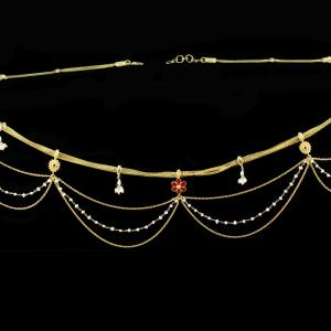 Silver Gold Plated  Fancy Design Odiyanam Studded Kundan And Pea