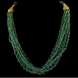Silver Gold Plated Bunch Chain Necklace Green Beads And Pearls