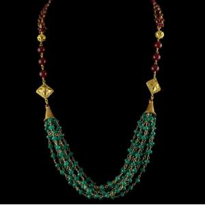 Silver Gold Plated Bunch Chain Necklace Green , Red Beads And Pe