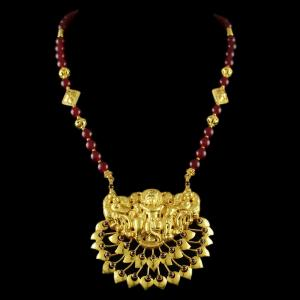 Silver Gold Plated Long Necklace Studded Red Onyx
