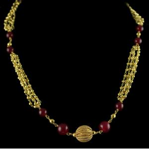 Silver Gold Plated Bunch Chain Necklace Golden , Red Beads And Pearls