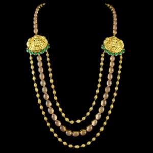 Gold Plated 3 Line Long Necklace Studded Semi Precious Stones